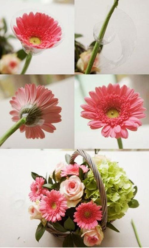 Cách cắm hoa hồng đan xen hoa đồng tiền, cẩm tú cầu đẹp 2