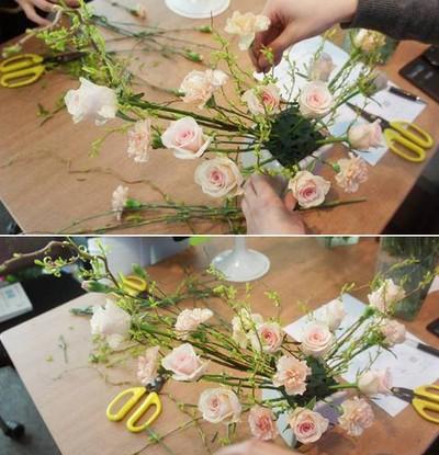Hướng dẫn cắm hoa hình trăng lưỡi liềm độc đáo