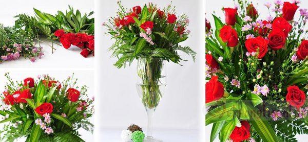 Cắm hoa thạch thảo kết hợp với hoa hồng