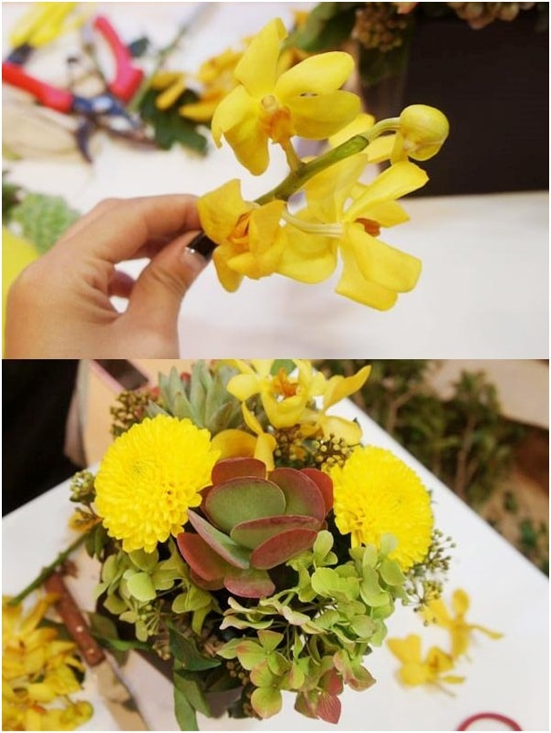 Mẹo hay giúp cắm lọ hoa sắc vàng xen sen đá tuyệt đẹp 9