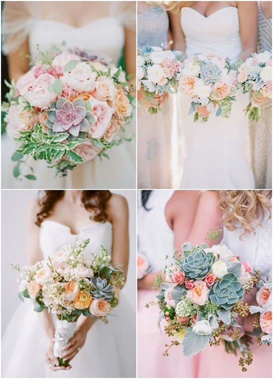 Sen đá kết hợp với nhiều loại hoa trong bó hoa cưới
