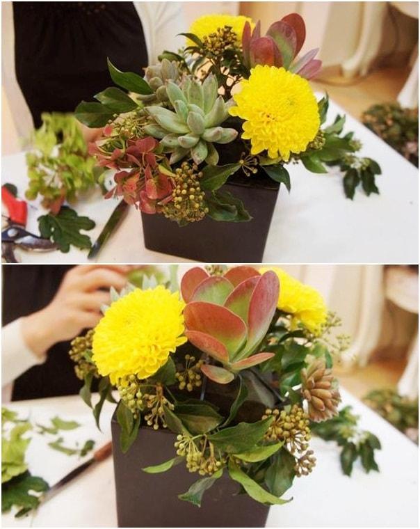 Mẹo hay giúp cắm lọ hoa sắc vàng xen sen đá tuyệt đẹp 8