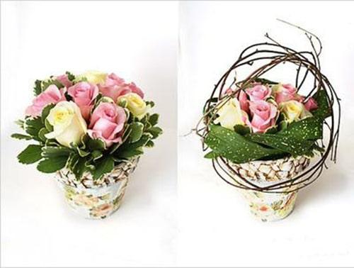 Cách trang trí hoa hồng và cành cây khô cực đẹp 4