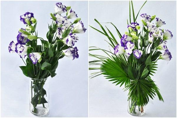 Lọ hoa cẩm chướng tím sau khi hoàn thành