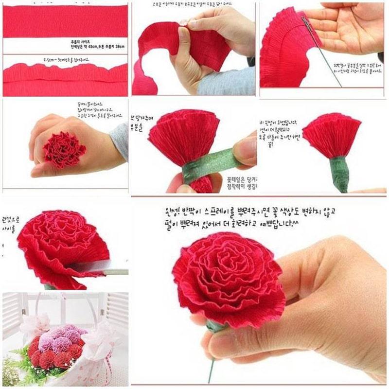 Cách làm hoa cẩm chướng bằng giấy nhún 2