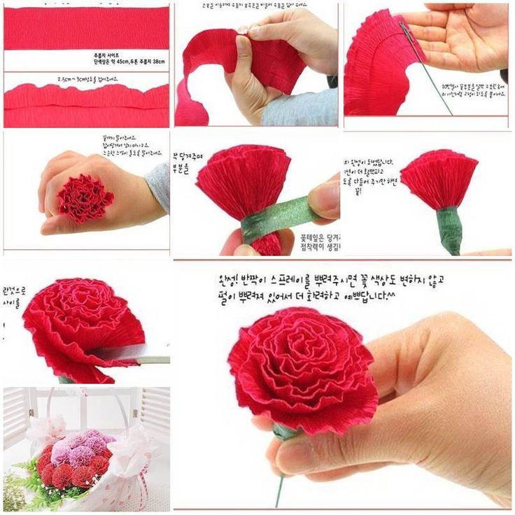 Cách làm hoa cẩm chướng bằng giấy nhún siêu đơn giản mà lại rất đẹp