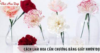 Cách làm hoa cẩm chướng bằng giấy nhún đẹp y như thật 9