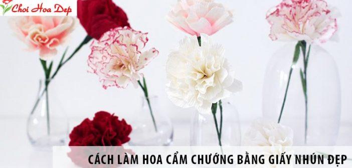 Cách làm hoa cẩm chướng bằng giấy nhún đẹp y như thật 1