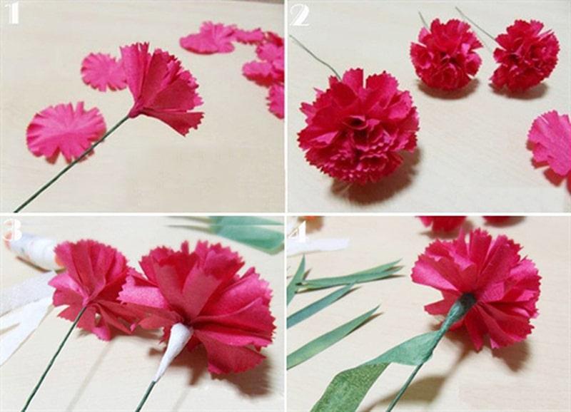 Cách làm hoa cẩm chướng bằng giấy nhún 1