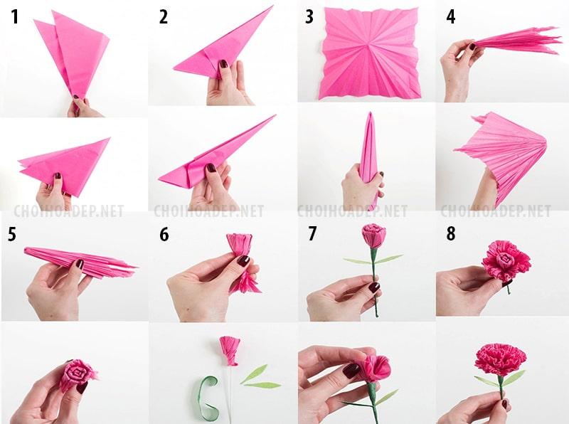 Cách làm hoa cẩm chướng bằng giấy nhún 3