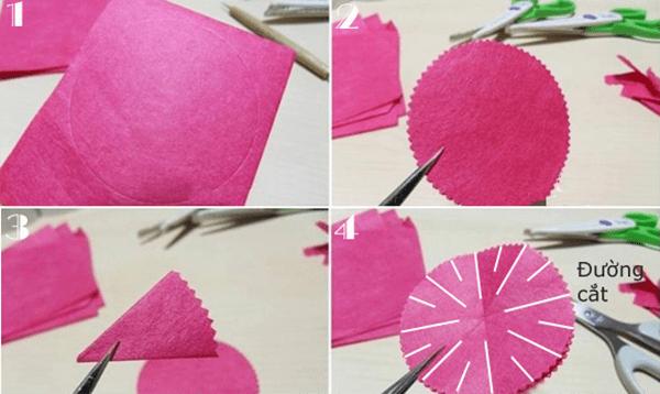 Cách làm hoa cẩm chướng bằng giấy nhún đẹp y như thật 2