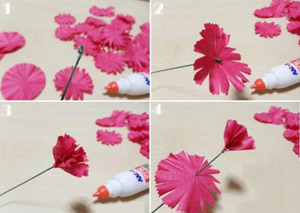 Cách làm hoa cẩm chướng bằng giấy nhún đẹp y như thật 4