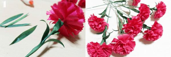 Cách làm hoa cẩm chướng bằng giấy nhún đẹp y như thật 6