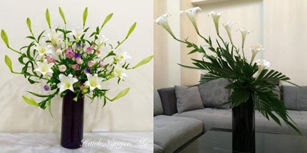 Cắm hoa loa kèn kết hợp với các loại hoa khác 4