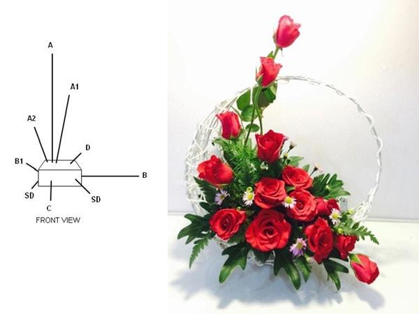 Minh họa cắm hoa kiểu chữ L