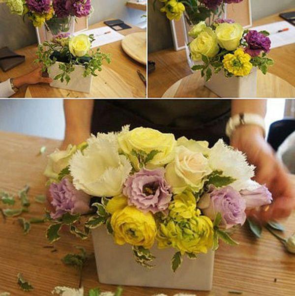 Chú ý phối màu sắc giữa các bông hoa hài hòa