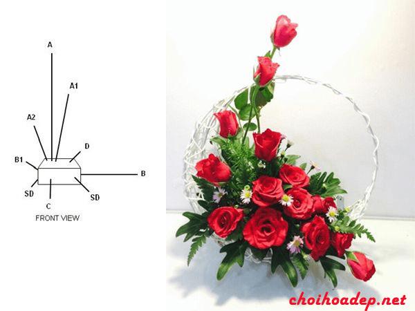 Cắm hoa hồng theo hình chữ L