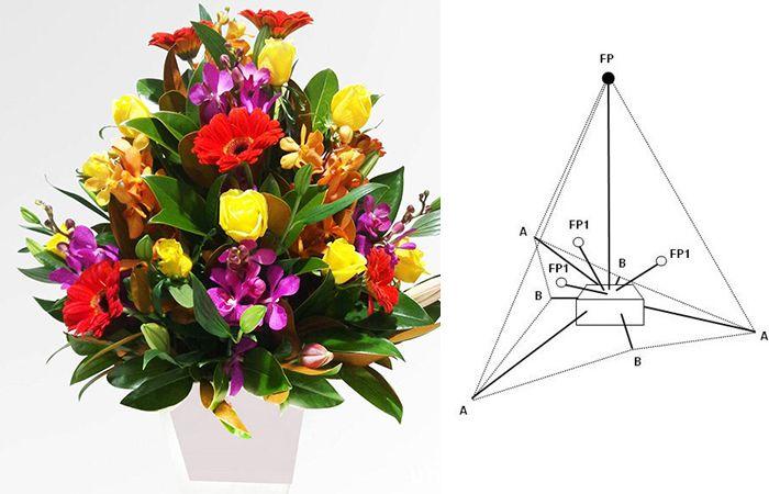 Cắm hoa 20/10 theo hình kim tự tháp - hình chóp nón