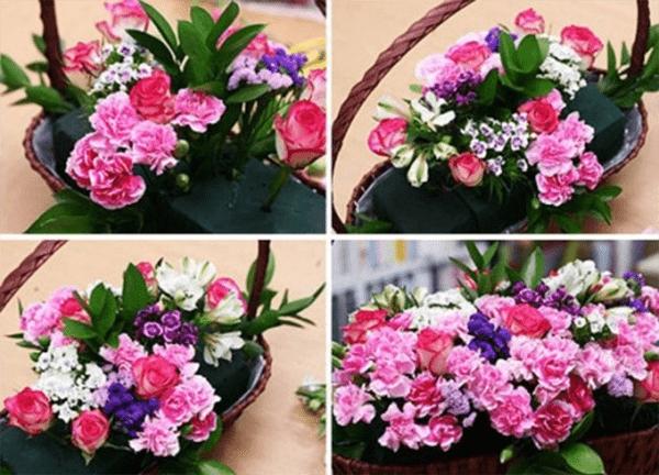 Cắm hoa vào xốp theo hình trên đây