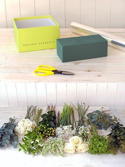 Nguyên liệu cắm hộp hoa hồng và hoa cát tường