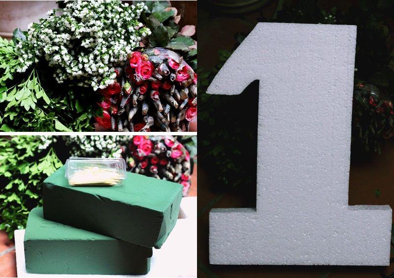 Nguyên liệu cắm hoa hồng hình số cho ngày 8-3