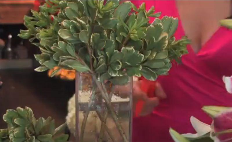 Dùng 4 - 5 cành để tạo khung cho bình hoa