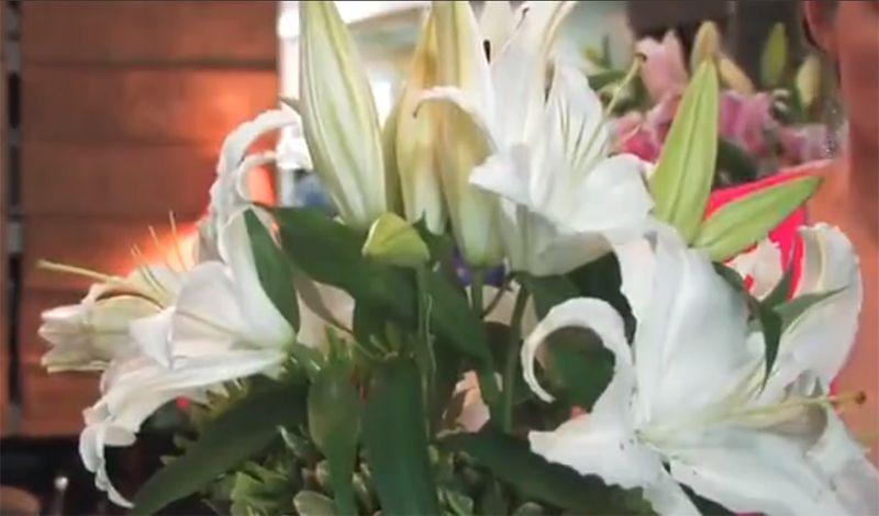 Dùng 6 bông hoa Ly trắng cắm về các hướng