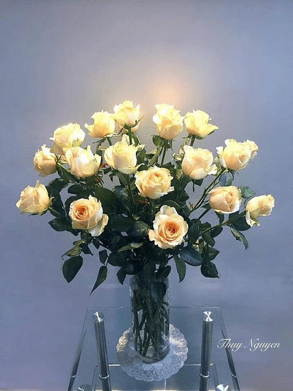 Hoa hồng vàng cũng rất thích hợp khi đặt trên bàn thờ