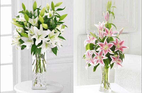 Cắm hoa ly dáng tự do
