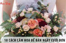 Mách bạn 10 cách cắm hoa để bàn ngày cưới đơn giản