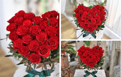 Bó hoa hình trái tim đang rất được ưa chuộng