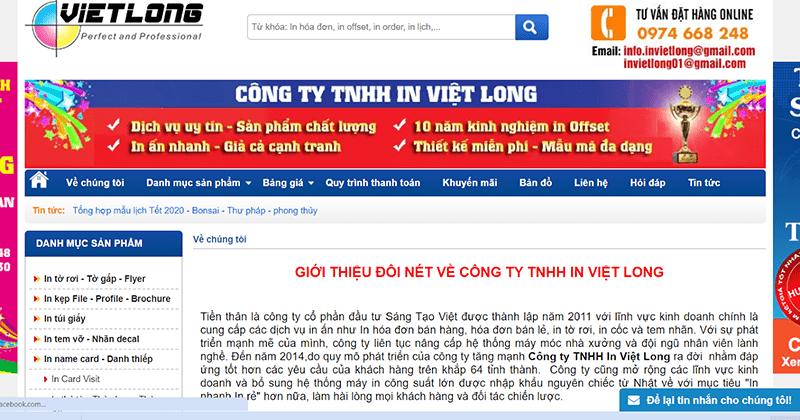Website của Công ty TNHH in Việt Long