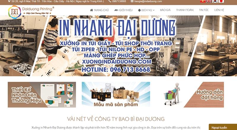 Website của công ty Cổ phần In nhanh Đại Dương