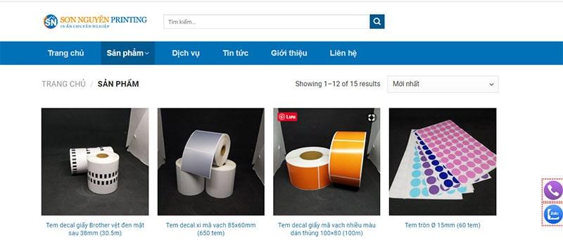 Website của công ty In Sơn Nguyên